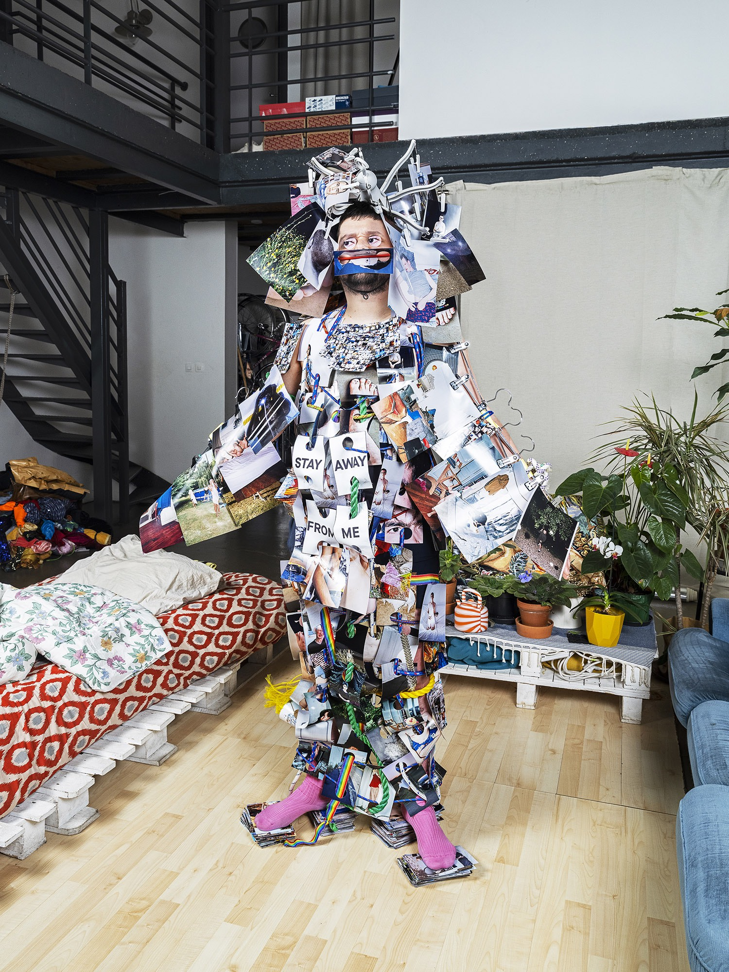 Self Portrait with magazines by Hubert Crabieres